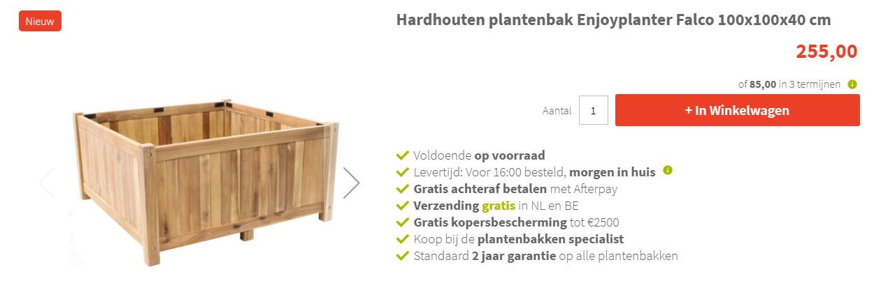 Betaal in 3 termijnen bij Houtenplantenbak.nl